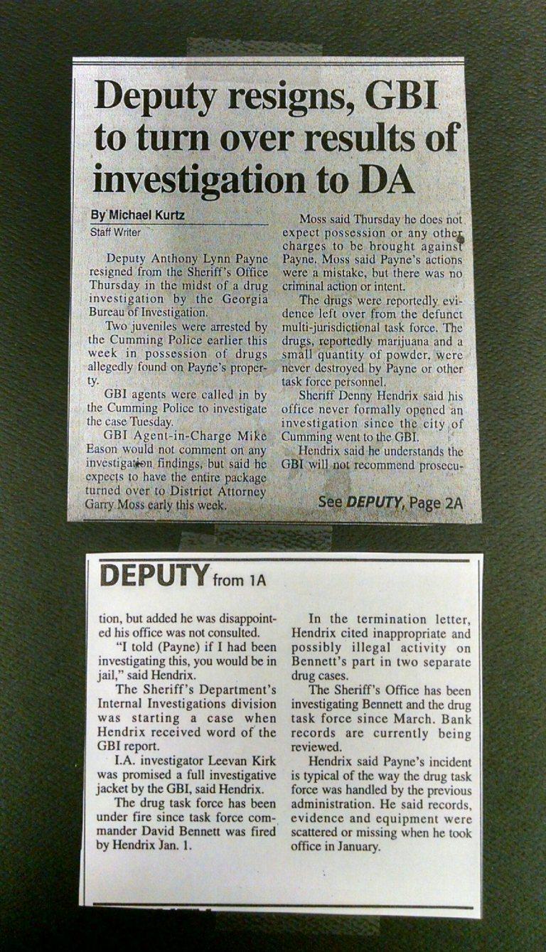 DEPUTY PAYNE RESIGNS PIC